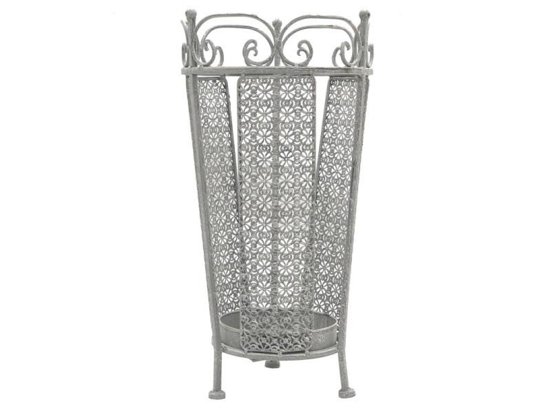 Style ancien porte parapluie en métal fer forme ronde gris 50 cm x ø26 cm