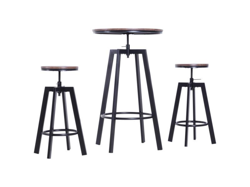 Ensemble table de bar design industriel + 2 tabourets hauteur réglable mdf coloris bois noyer acier noir