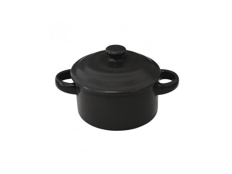 Minis cocottes rondes noires 75 x 100mm olympia - boite de 4 - 10 cm grès 22,7 cl