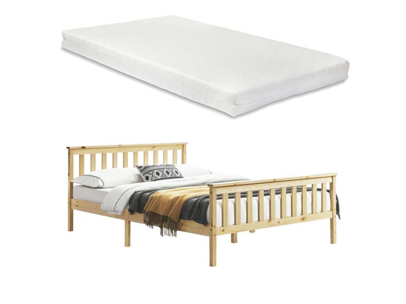 Cadre de lit design pour adultes en bois de pin à sommier à lattes lit double avec matelas à mousse à froid capacité de charge 200 kg 160 x 200 cm bois naturel [en.casa]
