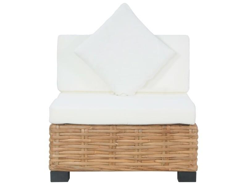 Vidaxl canapé sans accoudoirs avec coussins rotin naturel 286280