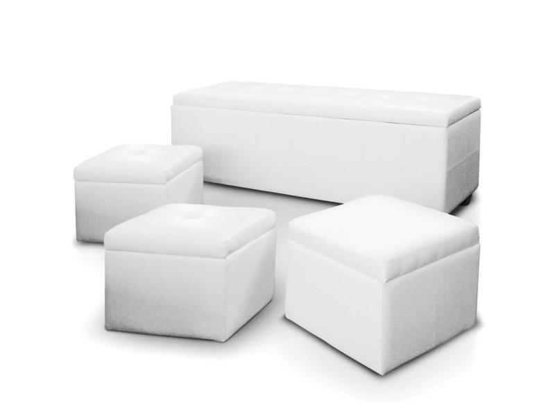 Banquette coffre alton + 3 poufs blanc