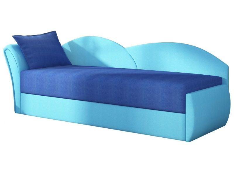 Canapé convertible 2 places en tissu bleu ciel avec coffre de ...