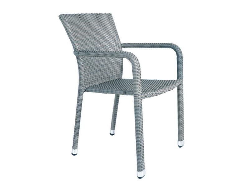 Chaise en résine tressée plate gris dauphin alton