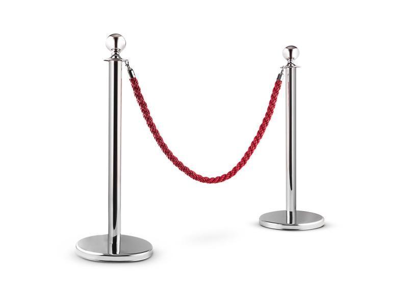 Oneconcept silver gate poteaux de guidage - 2 poteaux 1 cordon - jusqu´a 1,5m - argenté / rouge