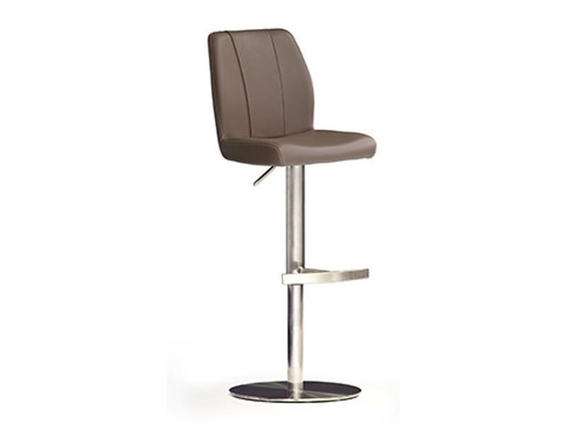 Tabouret de bar en cuir socle rond en acier brossé coloris cappuccino rotation 360° - dim : h 89-114 x 42 x 52 cm -pegane-