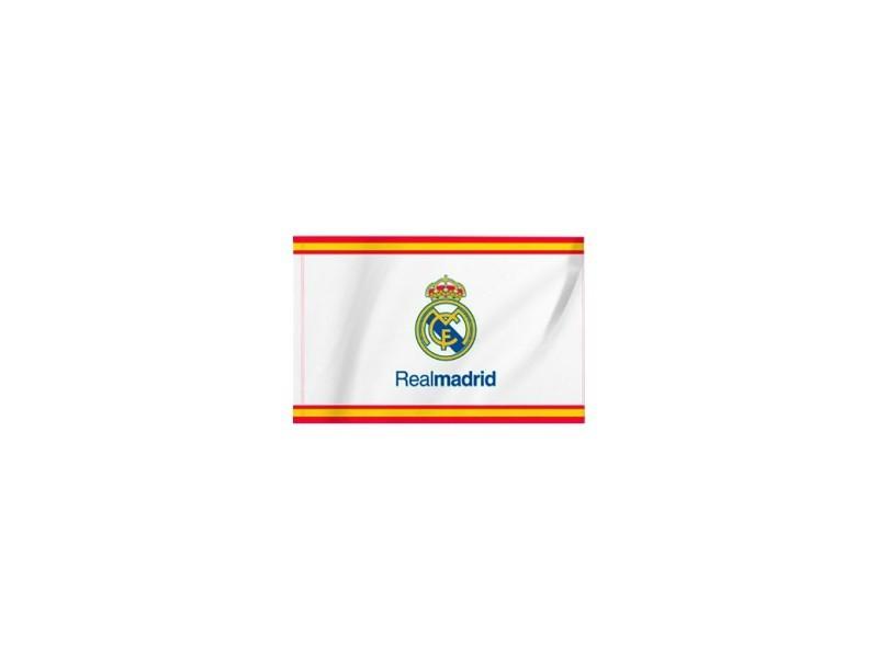 Mesure 150 x 90 cm. 100/% Polyester Produit sus Licence Drapeau Real Madrid avec franges de lEspagne