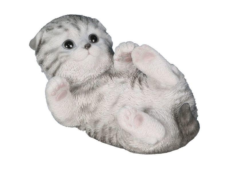 Statue de jardin chaton gris jouant en résine 18 cm