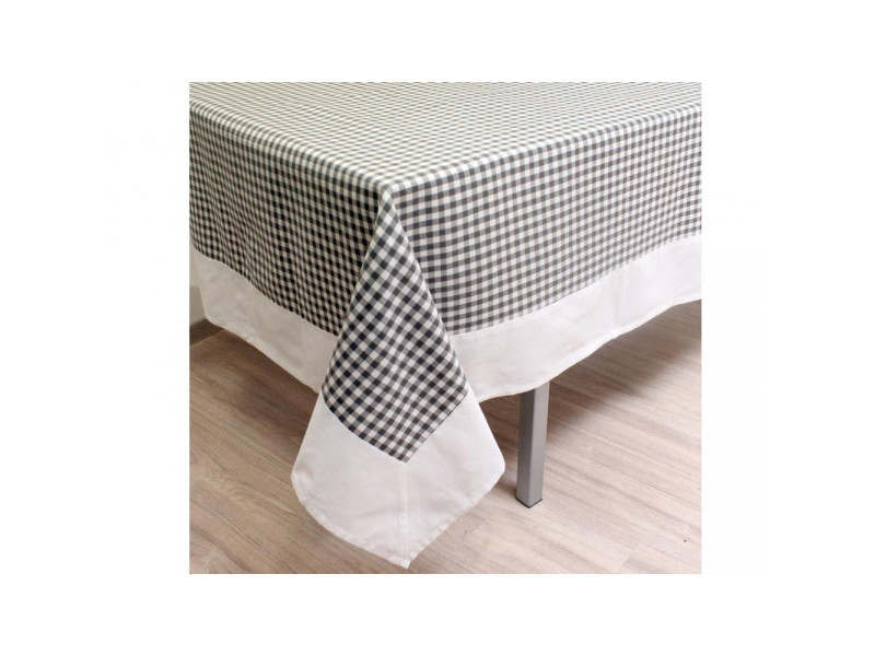 Nappe carrée en coton anti-tâches 180x180 cm vichy gris, jacquard