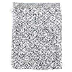 Gant de toilette 16x21 cm shibori mosaic gris 500 g/m2