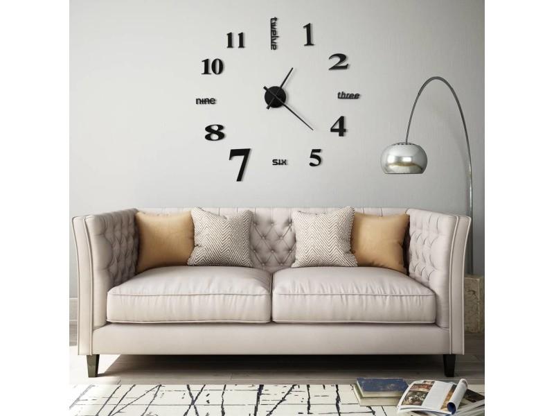 Icaverne - horloges murales gamme horloge murale 3d design moderne 100 cm xxl noir