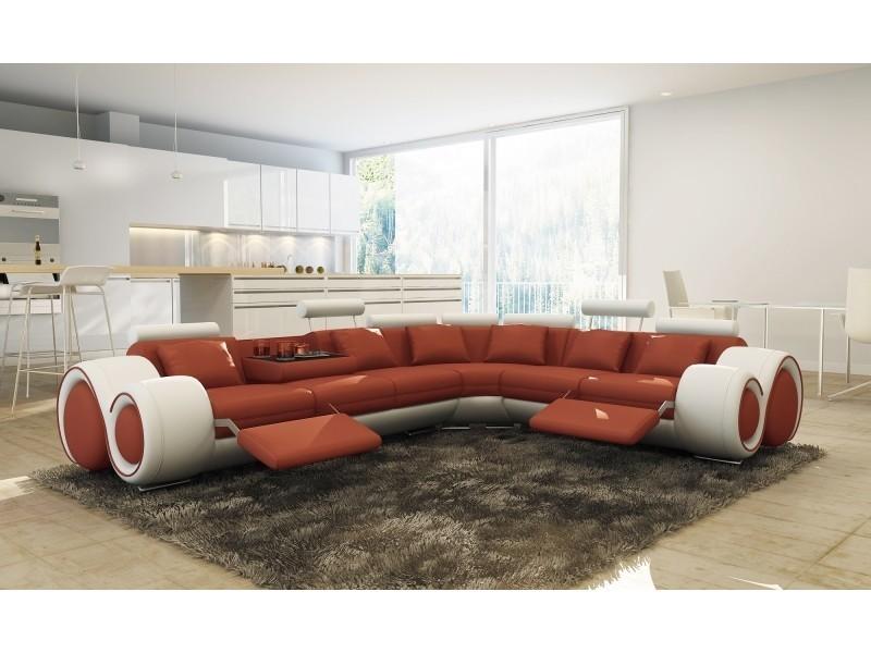 Canapé d'angle cuir orange et blanc + positions relax oslo (droit)-