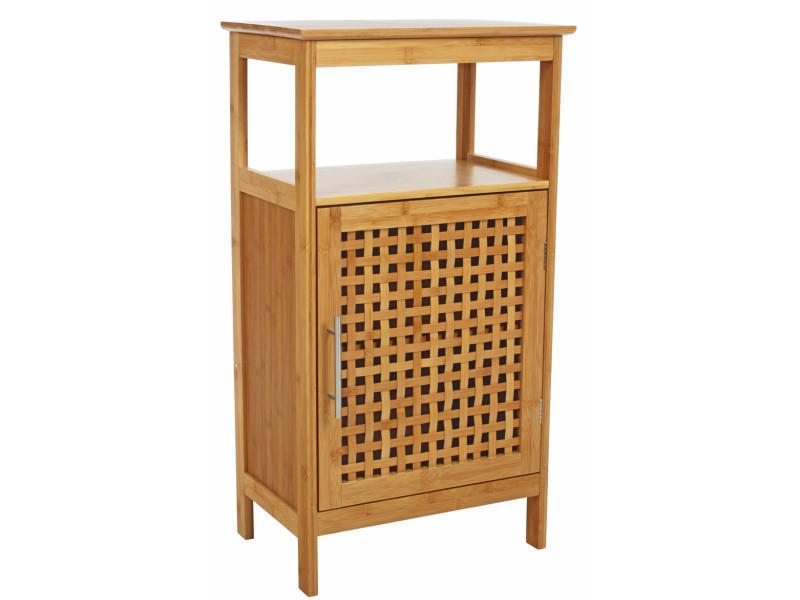 Meuble bas de salle de bain 1 porte en bambou, h83 x p30 x l45 cm -pegane- - Conforama