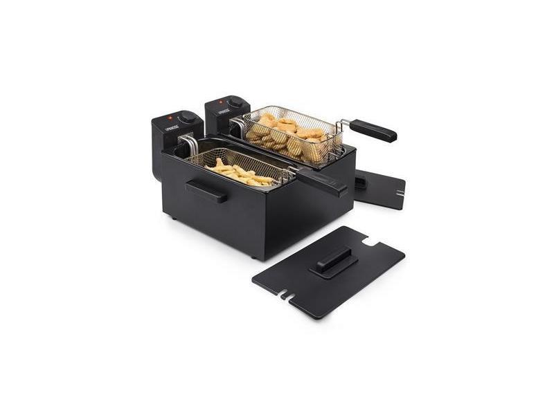 Friteuse double cuves en inox de 2 x 3l 3600w noir