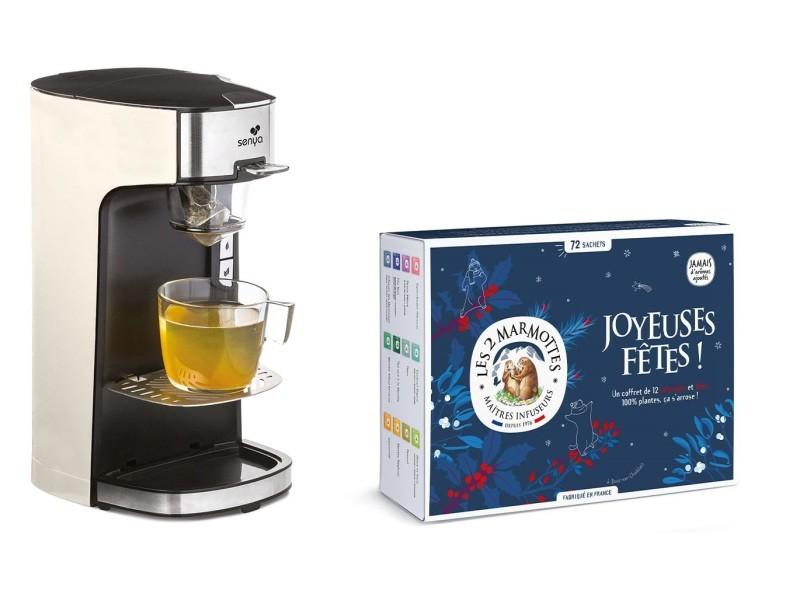 Senya set machine à thé, théière électrique rouge tea time & le coffret découverte comprenant 72 sachets - les 2 marmottes