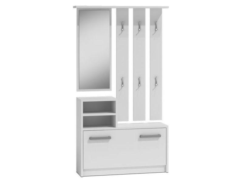Vittoria - meuble d'entrée contemporain 6 crochets + miroir + rangement chaussures 180x85x24 - vestiaire - blanc