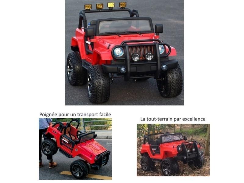 50f84106f0e5a Grand 4x4 voiture électrique pour enfant 24 volts rouge luxe pneus gomme eva  24v