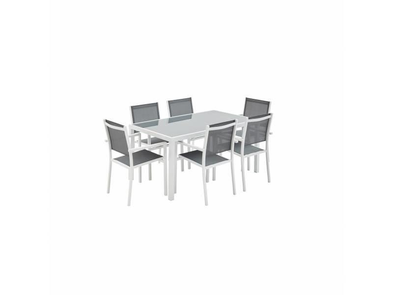 Salon de jardin en aluminium et textilène - capua - blanc, gris - 1 grande table rectangulaire, 6 fauteuils empilables