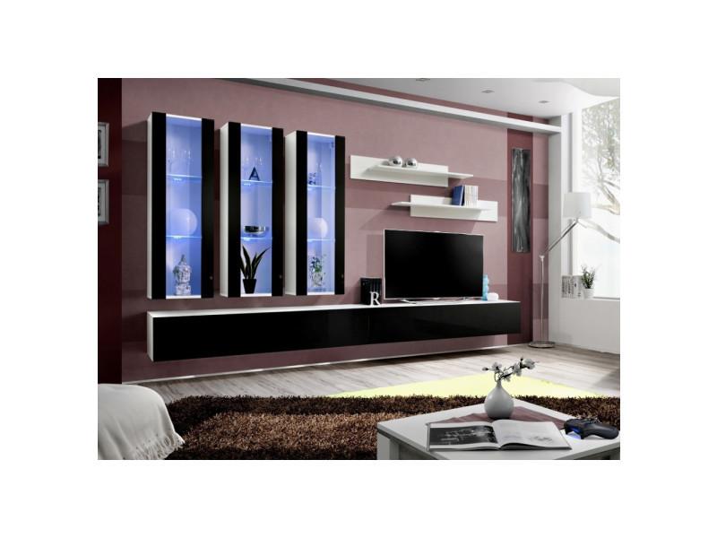 Ensemble meuble tv mural - fly v - 320 cm x 190 cm x 40 cm - blanc et noir