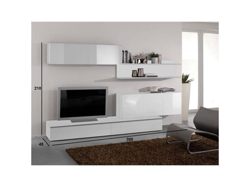 composition murale tv design forte blanche 20100846653 conforama. Black Bedroom Furniture Sets. Home Design Ideas