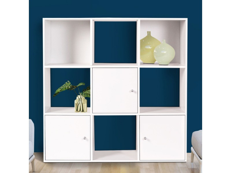 meuble de rangement cube 9 cases bois blanc avec 3 portes vente de id market conforama. Black Bedroom Furniture Sets. Home Design Ideas