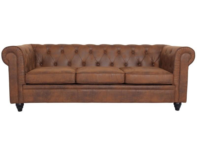 canap 3 places chesterfield vintage vente de menzzo conforama. Black Bedroom Furniture Sets. Home Design Ideas