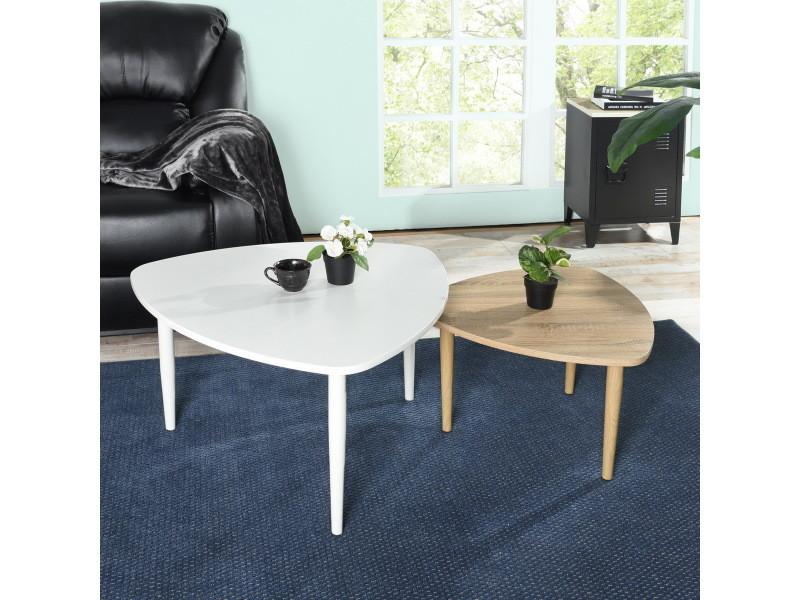 Set de 2 tables basses d'appoint gigognes triangle blanche bois métal