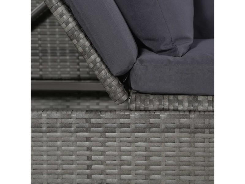 Icaverne - lits d'extérieur selection canapé de jardin résine tressée 200 x 60 x 58 cm gris