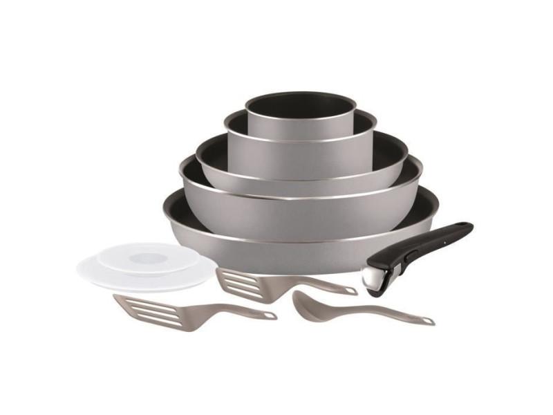 Tefal ingenio essential batterie de cuisine 11 pieces gris tous feux sauf induction l2149902