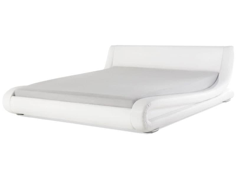 Lit double design en cuir blanc 180 x 200 cm avignon 43343