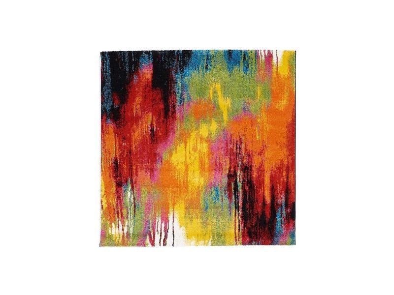 Tapis Salon Moderne De Créateur Belo 1 Rouge, Creme, Jaune, Vert, Noir,  Orange 100 X 100 Cm