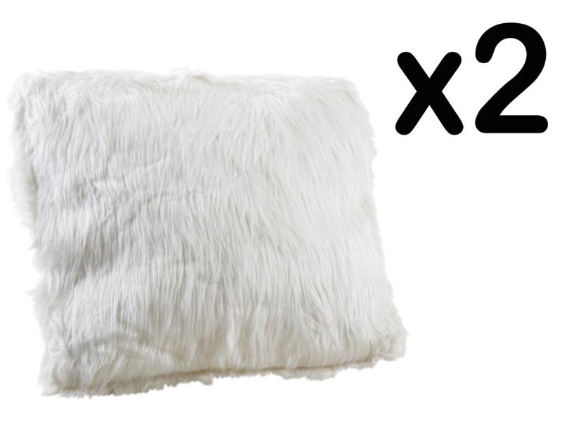 Lot de 2 coussins en fausse fourrure, blanc, 45 x 45 cm -pegane- PEGANE