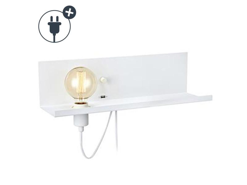 Applique étagère à ampoule apparente usb multi blanche en métal