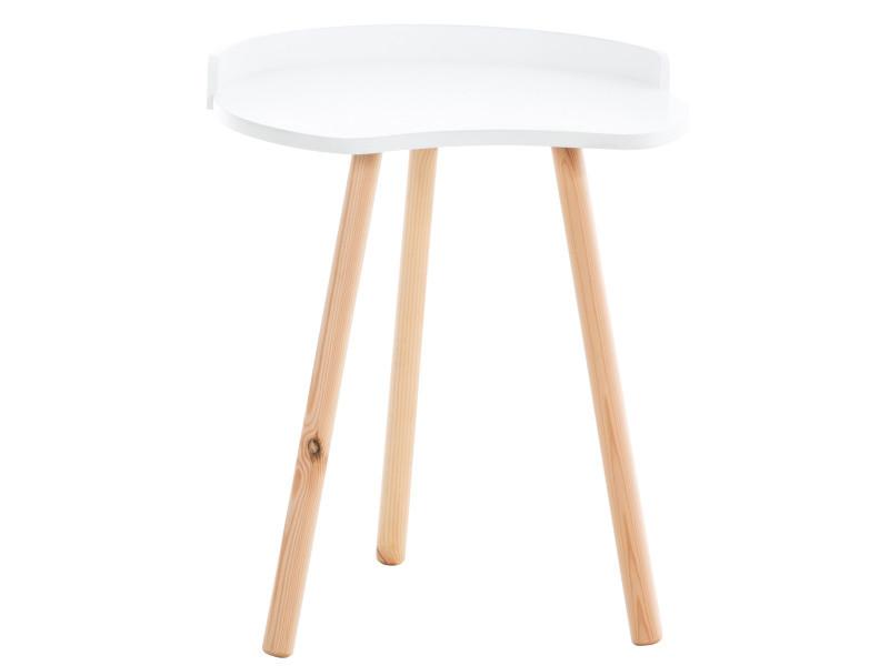 Table d'appoint au style scandinave jannis en bois , blanc