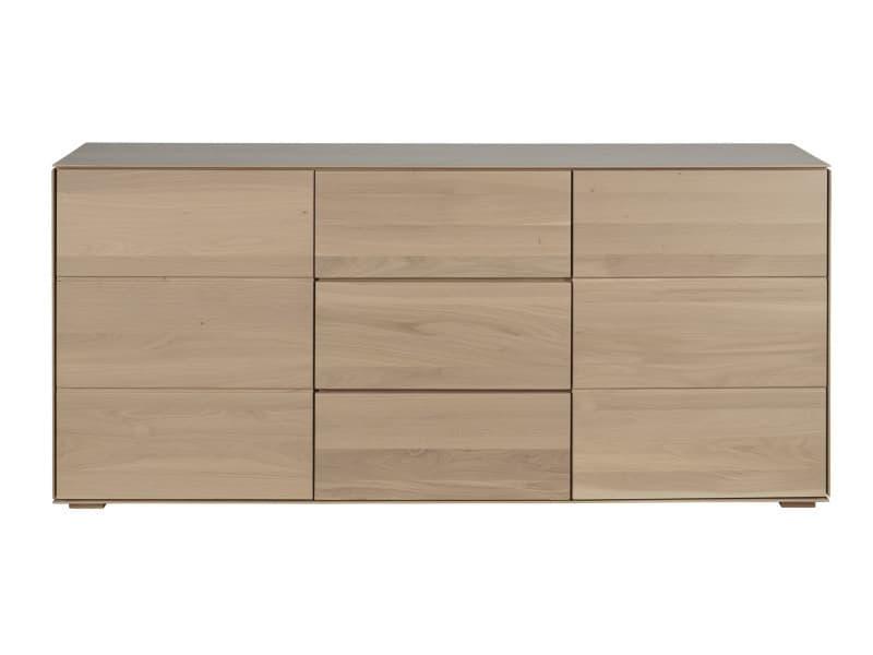 Buffet moderne filigrame en bois massif, finition chêne naturel