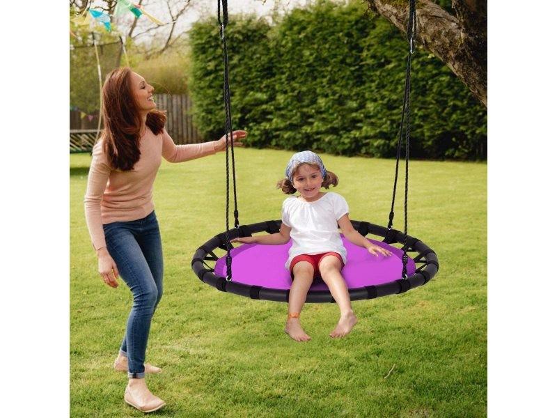 Giantex balançoire nid d'oiseau ronde ø100cm pour enfant hauteur réglable 100-160cm charge 150 kg avec cordes multicouches extérieur (violet)