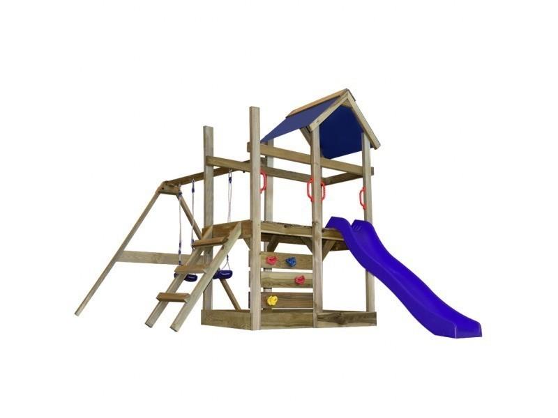 Vidaxl aire de jeux avec échelle, toboggan et balançoires en bois 273729 -  Vente de VIDAXL - Conforama 1097b4e196d3