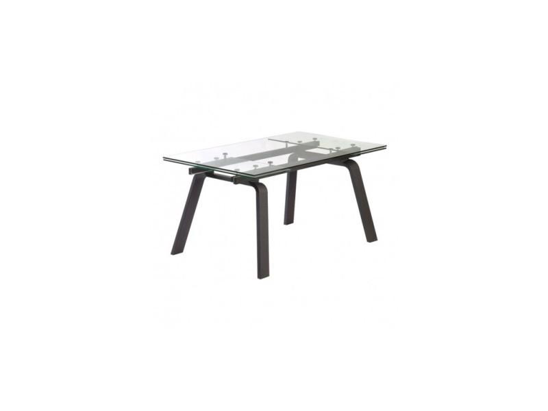 Table à rallonges bois noir et verre moon 160-240 cm