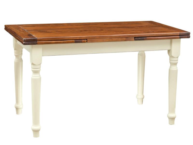 Table à rallonge champêtre en bois massif structure chaux chaux chaux sur plan en noyer antique