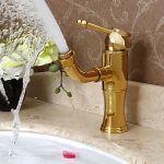 Robinet lavabo rotatif couleur or style moderne et simple, finition en laiton avec poignée unique