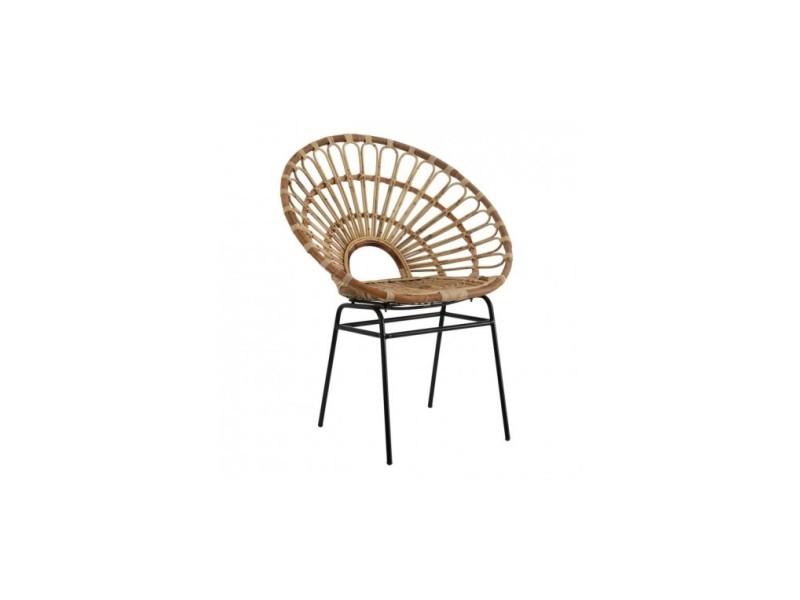 Chaise naturel rotin métal calypso