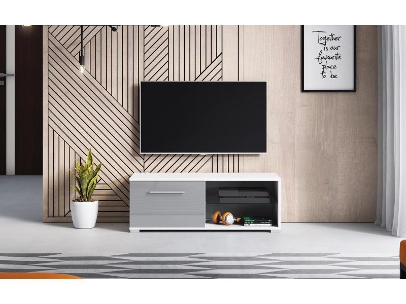 Meuble tv magnum (100 cm) couleur blanc et gris laqué