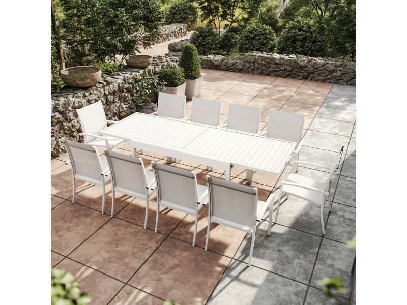 Table de jardin extensible aluminium 270cm + 10 fauteuils empilables textilène - blanc - andra