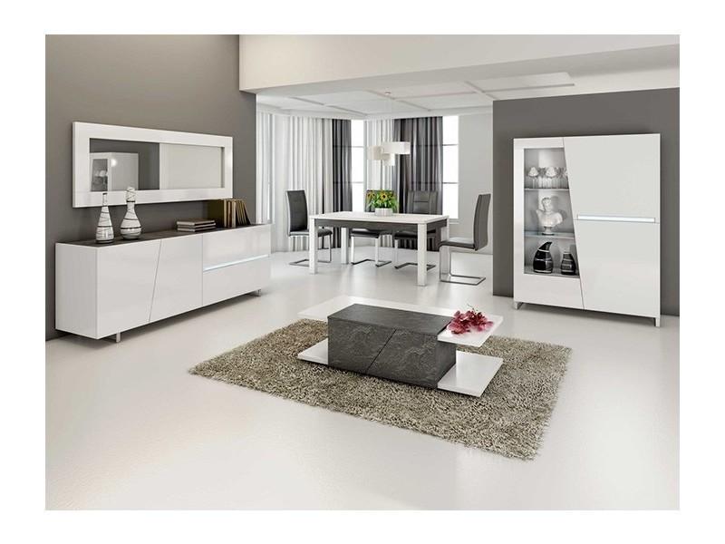 Salle à manger complète gris béton et blanc laurea - Vente ...