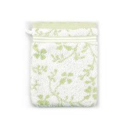 Gant de toilette 16x21 cm vintage floral vert 550 g/m2