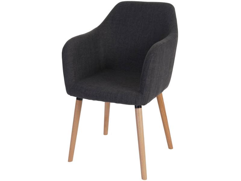 Chaise de séjour / salle à manger malmö t381, style rétro des années 50 ~ tissu, gris