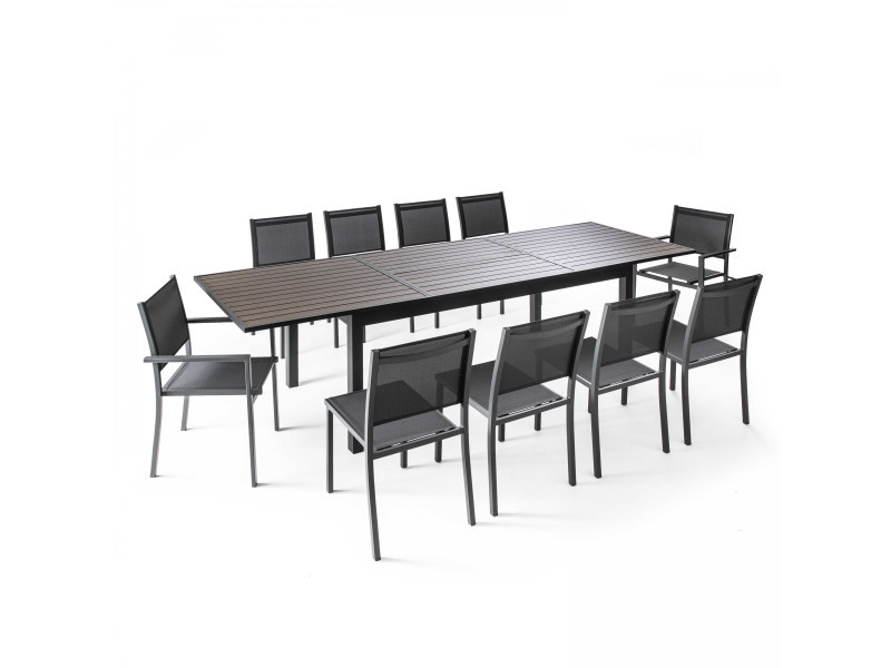 Table de jardin extensible 10 places en aluminium et ...