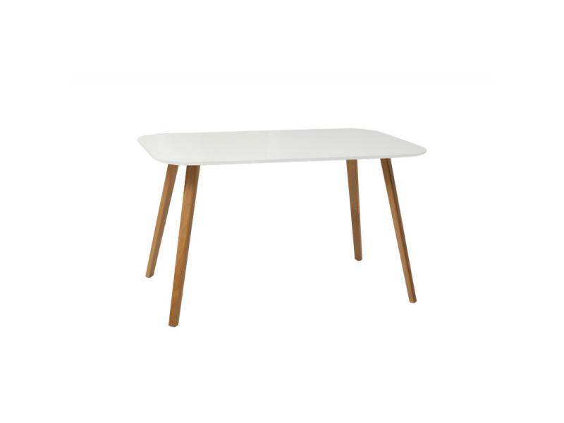 Table rectangulaire 130 cm plateau blanc avec pieds en bois - june