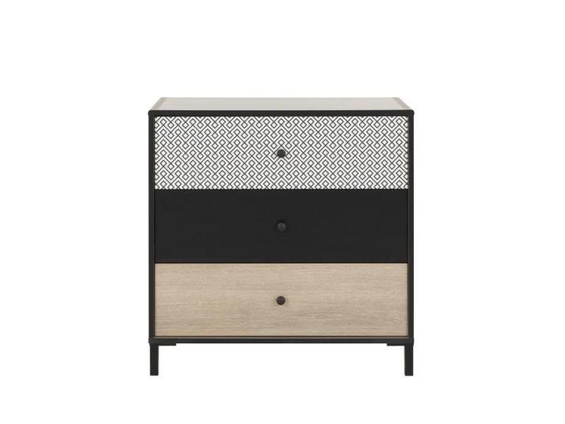 Commode de chambre manille commode 3 tiroirs - décor chene noisette et noir - l 45 x p 81 x h 81 cm