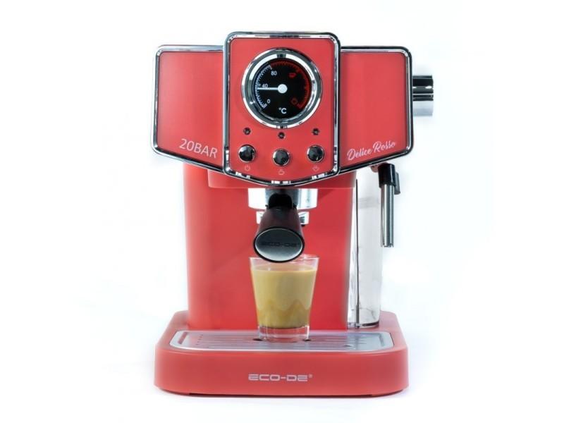 ECODE cafetière expresso delice rosso. 20 bars de pression, vaporisateur orientable, réservoir de 1,5 litres, mono/double dose, manomètre avec température ECO-419 DR
